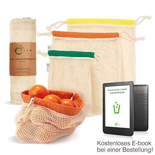 Vatum Obst- und Gemüsebeutel - 3er Set Einkaufsnetze aus Bio-Baumwolle (GOTS) - Wiederverwendbare Baumwollbeutel für EIN plastikfreies Leben - umweltfreundliches Gemüsenetz - Obstnetz | inkl. E-Book -