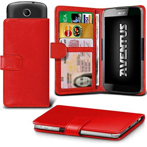 Aventus (Rot) Acer Liquid Z320 Premium-PU-Leder Universal Hülle Spring Clamp-Mappen-Kasten mit Kamera Slide, Karten-Slot-Halter & Banknoten Taschen