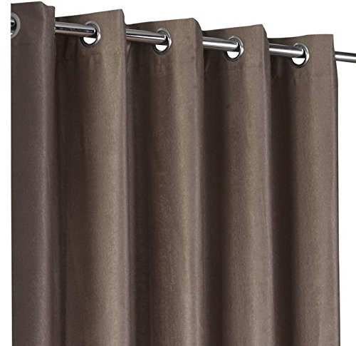 Luxury Textured Taupe Beige Eyelet Ring Top Thermal Blackout Curtains (90″ Wide x 72″ Drop)