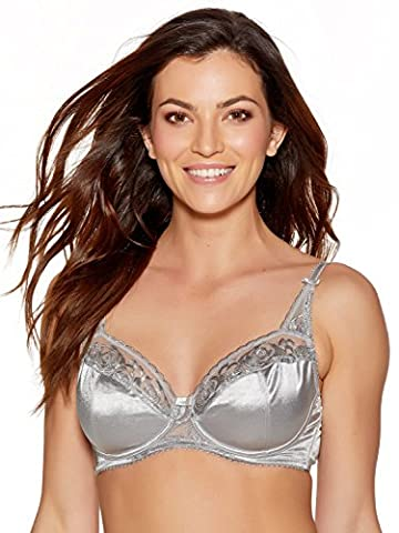 M&Co Ladies Underwired Non Padded Full Cup Balconette Floral Rose Embroidered Satin Bra Silver 40B