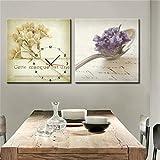 Anuy de Modern Style Lienzo Pintura Tasty vida Reloj de pared en canvas 2ST, lona, 40*40cm