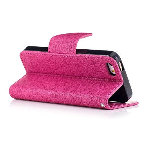 Coque pour iPhone 5 5S 5G / iPhone SE,Housse en cuir pour iPhone 5 5S 5G / iPhone SE,Ecoway motif ours gaufrage en cuir PU Cuir Flip Magnétique Portefeuille Etui Housse de Protection Coque Étui Case C Red Rose Gaufrage Chainsaw Ours