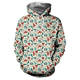 Soupliebe Damen Christmas Long Sleeve trägerloses Sweatshirt Printed Pullover Tops Bluse Kapuzen Langarmshirt Sweatjacke Kapuzenpullover Hoodie