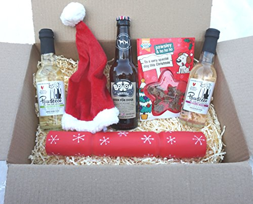 DOG CHRISTMAS GIFT BOX WITH DOG WINES BEER XMAS HAT CRACKER & TREAT CARD
