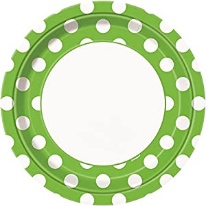 Unique Party- Paquete de 8 platos de papel a lunares, Color verde lima, 37465)