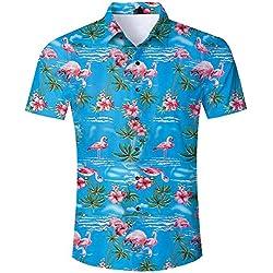 uideazone Camisa Hawaiana Hombre Casual Manga Corta Unisex 3D Impresión Verano Playa Funny Hawaii Shirt (flamencos-Azul, M)