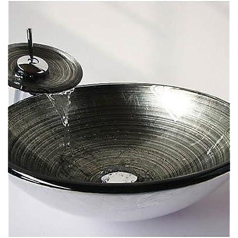 Luxury Classic Silver Round a spirale in vetro temperato dissipatore di vaso con cascata rubinetto ,Pop - Scarico e anello di montaggio