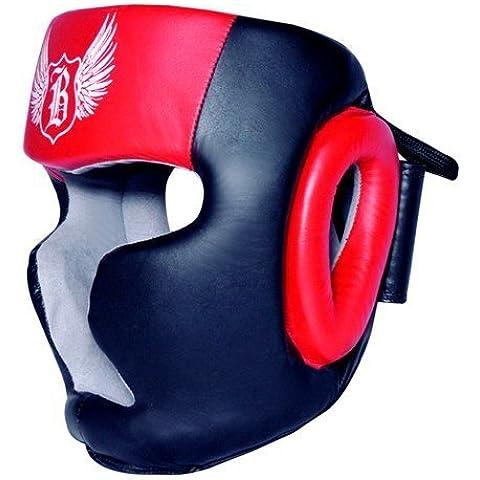 BooM Pro CUERO Boxeo Protector cabeza MMA Artes Marciales Sombreros y demás tocados - rojo y negro, Large