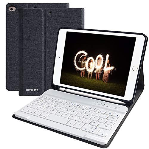 lle für iPad Mini5 2019, Slim Soft TPU Rückseite Abdeckung Keyboard Case mit eingebautem Pencil Halter und magnetisch Abnehmbarer drahtloser Bluetooth QWERTZ Tastatur(Schwarz grau) ()