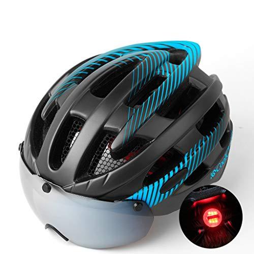 Fahrradhelm Mountainbike Brille Brille EIN Männer Und Frauen Rennrad Helme Fahrrad Ausrüstung Magnetische Verbreiterte Brille Mit Rückleuchten Mit Insektennetze (Farbe : Blau)