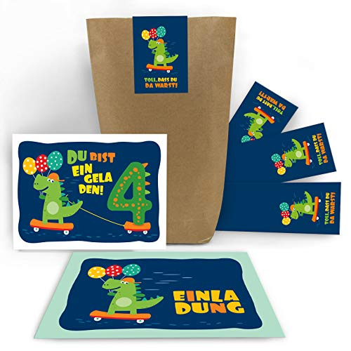 (8 Einladungskarten zum 4. Kindergeburtstag Jungen Jungs Mädchen Dinosaurier Einladungen vierte Geburtstag incl. 8 Umschläge, 8 Tüten / Natur, 8 Aufkleber)