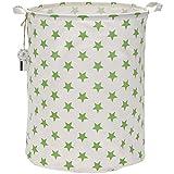 Sea Team 50 cm, portabiancheria di grandi dimensioni, rivestimento impermeabile, in tessuto di cotone ramia, pieghevole, secchio cilindrico di tela, cesta portaoggetti, con elegante motivo a stelle Greenery Star