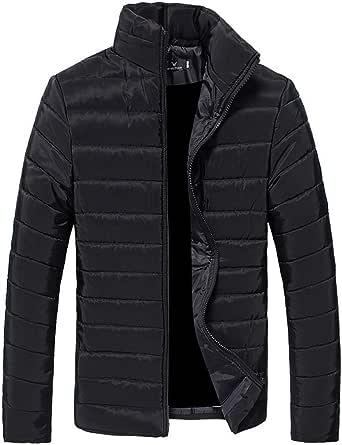 ROBO Men's Down Parka Jacket Puffer Stand Collar Coat Lightweight Zipper Outerwear Autumn Winter