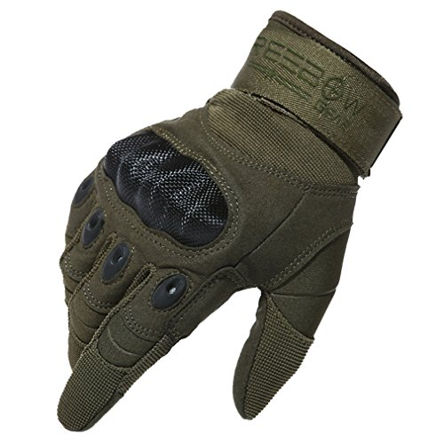 "Reebow Gear Herren voll Finger Handschuhe Army Racing Gloves Fahrradhandschuhe (Army Grün, M(8""/20cm-22cm))"