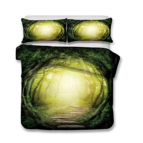 Bettwäsche Set Bettbezug und Kissenbezug Original Wald Stil Bettwäsche mit Verdecktem Reißverschluss 100% Polyesterfaser (Urwald, 135 x 200 cm)