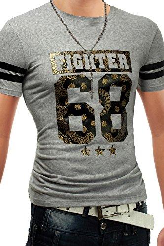 Herren T-Shirt Fighter 68 ID1253 + Brusttasche Grau