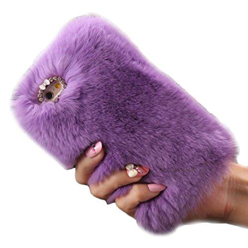 per iPhone 6 plus / 6S plus 5,5 inch Koly® calde soffici villi eco-pelliccia peluche Lana bling caso (viola)
