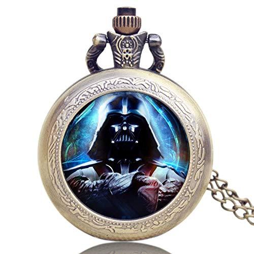 Reloj de Bolsillo para Hombre, Star Wars Darth Vader, Cadena de Bronce para Hombre, Collar de Cuarzo Vintage, Reloj de Bolsillo, Hombres