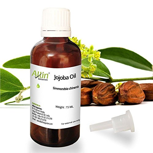Allin Exporters Jojoba Oil – 100% Pure Virgin Cold Pressed Unrefined Organic Jojoba Oil – Exceptional Moisturizer for Face, Skin, Hair & Nails – Perfect for Sensitive & Dry Skin – Enriched in Fatty Acids, Vitamins C and E
