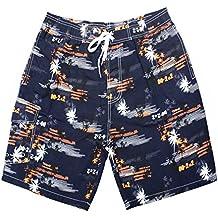 KOSBON Verano Troncos de natación para hombres Patrón de árbol de coco Shorts de playa de