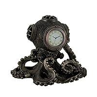 Bronze Finish Steampunk Octopus Diving Bell Clock Statue by Zeckos