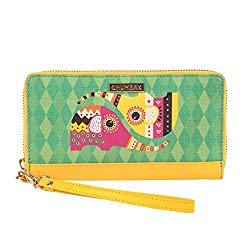 Chumbak Decorative Pu Elephant Long Wallet For Women (Yellow)