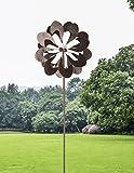 HAFIX Windrad Metall Blumenmuster Windspiel Metallwindrad Gartendeko rund Wind Mühle mit Erdspieß
