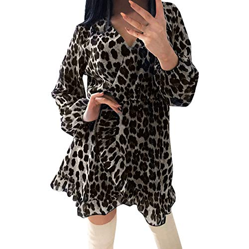 Damen Tunikakleid Kleid Longbluse im Coolen Leo-Print MYMYG Rundhals Langarm Kleid Bodycon Unregelmäßig Shift Skater Kleid Party Minikleid (Schwarz,EU:42/CN-2XL)