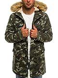 OZONEE Herren Winterjacke Parka Jacke Kapuzenjacke Wärmejacke Wintermantel Coat AK-CLUB YL001 HELLCAMO L
