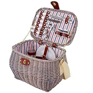 Picknickkorb-Set für 2 Personen, Picknicktasche Weiden-Korb, Porzellan Glas Edelstahl, weiß-rot