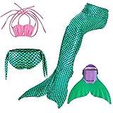 Kinder Mädchen Meerjungfrauenschwanz Meerjungfrau Flosse Schwimmanzug Badebekleidung 4pcs Bikini Sets  130 (8-10 Jahre) Grün