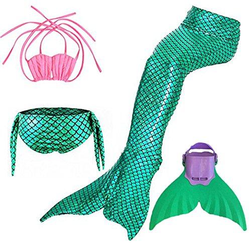 Kinder Mädchen Meerjungfrauenschwanz Meerjungfrau Flosse Schwimmanzug Badebekleidung 4pcs Bikini Sets  120 (6-8 Jahre) Grün