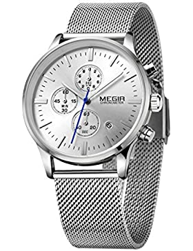 Megir Analoge Chronograph-Uhr mit drei kleinen Zifferblättern, Armband in Flechtoptik, phosphoreszierend, automatischer...
