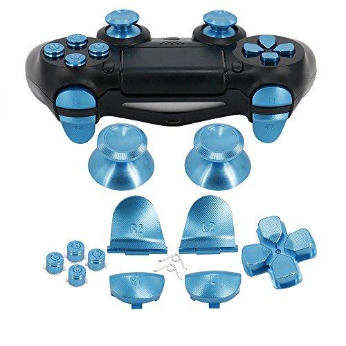 Full Metal Bullet Buttons für PS4Controller, cocotop Aluminium-Ersatzknöpfe Thumbsticks Daumengriff, (Oberfläche in Tasten, D-Pad, L1R1L2R2Trigger Tasten für PS4PS4Slim PS4Pro Controller, blau