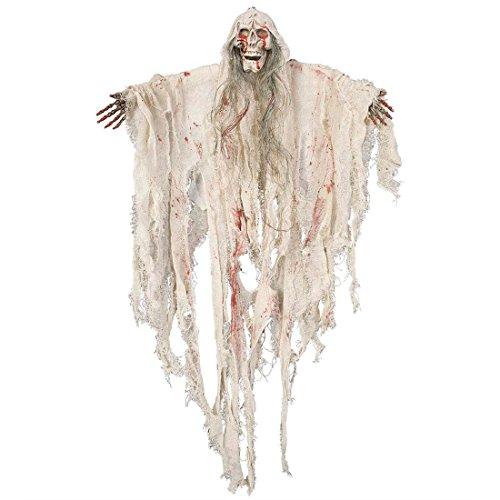 Deko Geist Gespenst hängend 90 cm Monster Hängedeko Skelett Figur blutig Halloweendekoration Zombie Horror (Geist Hängender)
