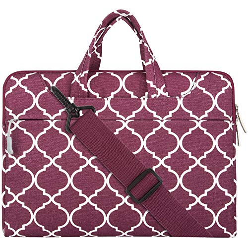MOSISO Notebooktasche Kompatibel 15-15,6 Zoll MacBook Pro, Notebook Computer Canvas Geometrisches Muster Laptop Schultertasche Sleeve Hülle mit Griff und Schulterriemen, Weinrot Quatrefoil