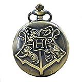 Harry Potter–Reloj de bolsillo escudo de las casas de Hogwarts en su caja de metal.