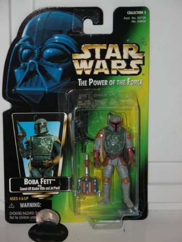 Star Wars Power of the Force Boba Fett Green Card Action Figure with Sawed-off Blaster Rifle and Jet Pack (Spielzeug Blaster Boba Fett)
