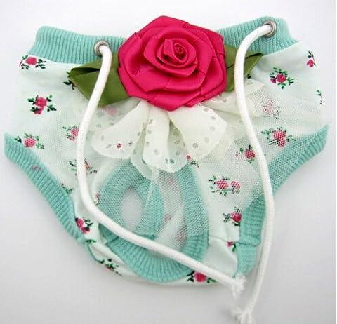 Pet Leso® Hündchen Panties Dog-Unterwäsche mit Blumen --Grün X-groß