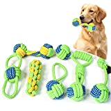 Briskyto Dog Toys Chewing Rope Ball Toys Set Puppy Teeth Cleaning Training for Small Puppies and Medium Dogs Aggressive Chewers Grinding Teeth Dog Training Playing Toys With Handle Knot