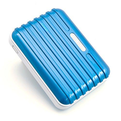 Powerbank 12000 mAh Extern Ladegerät mit 5 Adaptern - für Unterwegs Extern Batterie AKKU Zusatzakku für iPhone Samsung Galaxy Blackberry Sony LG (Blau)