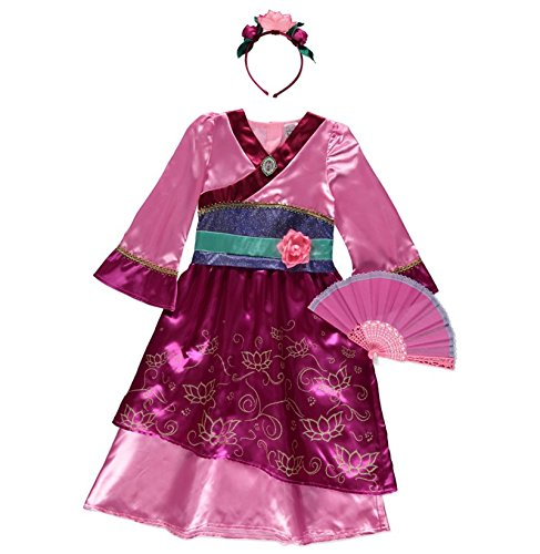 Officially licensed Disney Princess Mulan fancy dress Age 7-8 Years Girls Book Week Costume with Cameo Brooch, Headband & Chinese Fan. Made for the Disney @ George (Kinder Kostüme Mulan)