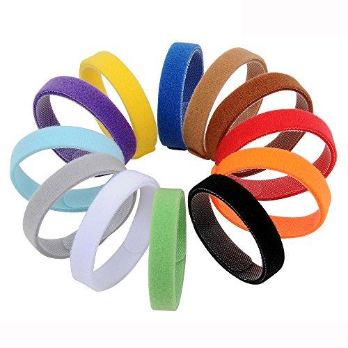 AMATHINGS 12 teiliges Welpenhalsband in weichem Klett in 20 cm Länge (Größe S) 12 Farben Wiederverwendbar Beschriftbar Für Züchter Welpenhalsbänder -