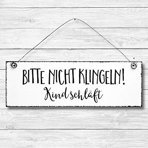 Bitte nicht klingeln Kind schläft - Dekoschild Türschild Wandschild aus Holz 10x30cm - Holzdeko Holzbild Deko Schild