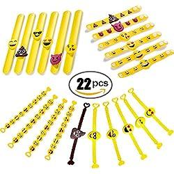 Jansroad 22 Pcs Emoji Pulsera de Silicona Para Niños , Pulsera de Goma Artículos de Fiesta , Juguetes de Novedad Para Escuela Recompensas de Clase