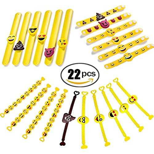 juguetes kawaii Jansroad 22 Pcs Emoji Pulsera de Silicona Para Niños , Pulsera de Goma Artículos de Fiesta , Juguetes de Novedad Para Escuela Recompensas de Clase