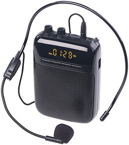 auvisio Stimmverstärker: Digitaler Sprachverstärker, Aufnahme, Display, FM, USB, microSD, Akku (Sprachverstärker für Führungen)