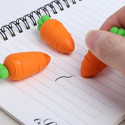 top-sell Lovely Carrot Form Gummi Bleistift Radierer Schule Office Stationery Geschenk für Kid 3 (Bleistift Top Radiergummi Bulk)
