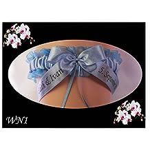 Personalizado boda Liga novia y novio nombres FECHA de la Ceremonia algo azul (WN1)