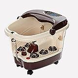 LJHA Fußwanne Automatische Massage Fußbassin Elektrische Heizung Blase Fuß Maschine tiefe Fässer Ältere Haus Fuß Gerät (dunkel lila) (51 * 41 * 40cm) Fußwanne
